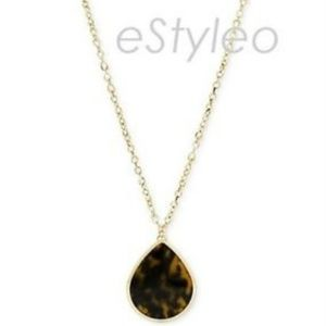 Fossil Brand Tear Drop Pendant Necklace Tortoise